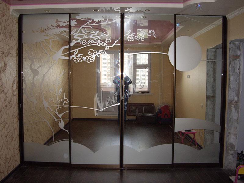 Шкафы с пескоструйным рисунком фото
